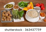 foods high in vitamin e on a... | Shutterstock . vector #363437759