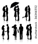 different silhouettes of... | Shutterstock .eps vector #36346552