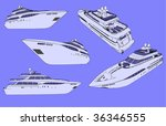 isolated vector yachts | Shutterstock .eps vector #36346555