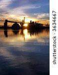 Cargo Ship Silhouette Reflected ...
