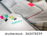 submit  stack of documents with ... | Shutterstock . vector #363478559