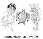 Hand Drawn Sea Horse  Jellyfis...