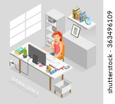 work space isometric flat style.... | Shutterstock .eps vector #363496109