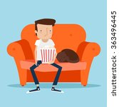 man resting with his cat at... | Shutterstock .eps vector #363496445