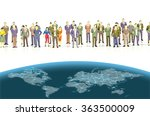 miniature people with world map ... | Shutterstock . vector #363500009