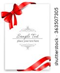greeting card with a red ribbon.... | Shutterstock .eps vector #363507305