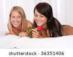 two young smiling women naked... | Shutterstock . vector #36351406