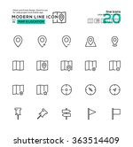 outline icon set of map and...