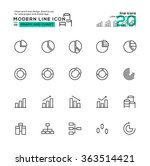 outline icon set of graph and...