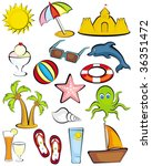 beach clipart icons | Shutterstock .eps vector #36351472