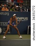 Small photo of NEW YORK - AUGUST 31: Daniela Hantuchova of Slovakia gets ready during 1st round match against Meghann Shaughnessy of USA at US Open on August 31, 2009 in New York
