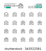 outline icon set of e mail and...