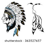 north american indian chief  ... | Shutterstock .eps vector #363527657