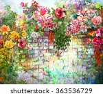 Stock photo abstract flowers on wall watercolor painting spring multicolored flowers 363536729