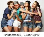group of five girls friends | Shutterstock . vector #363548849