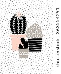 hand drawn cactus plants in...   Shutterstock .eps vector #363554291