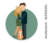 cute happy couple embracing.... | Shutterstock .eps vector #363556301