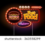 fast food neon sign  | Shutterstock .eps vector #363558299