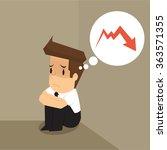 businessman dismal graph down.... | Shutterstock .eps vector #363571355