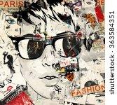 modern teenage girl on grunge... | Shutterstock . vector #363584351