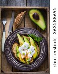 poached egg and sliced avocado... | Shutterstock . vector #363588695