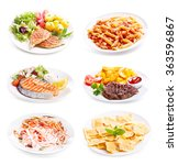 plates of various meat  fish... | Shutterstock . vector #363596867
