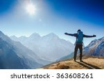 active hiker hiking  enjoying... | Shutterstock . vector #363608261
