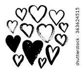 vector hand drawn ink hearts... | Shutterstock .eps vector #363624515