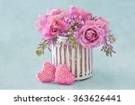 Lilacs And Pink Roses Flowers...
