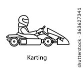 logo karting. man racing on... | Shutterstock .eps vector #363627341