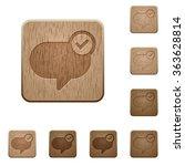 set of carved wooden message...
