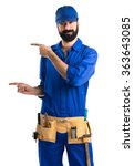 plumber pointing to the lateral | Shutterstock . vector #363643085