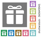 gift flat icon set on color...