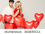 portrait of cute couple with... | Shutterstock . vector #363650111