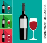 flat bottle and a glass of wine | Shutterstock .eps vector #363651011