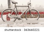 Bicycle Covered With Snow.