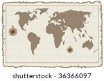 old vector world map on ancient ... | Shutterstock .eps vector #36366097