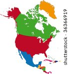 colorful north america map with ... | Shutterstock .eps vector #36366919