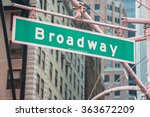street sign on broadway on