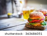 homemade burgers on rustic... | Shutterstock . vector #363686051