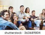group of friends watching tv at ... | Shutterstock . vector #363689804