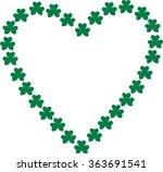 heart contour of green shamrocks | Shutterstock .eps vector #363691541