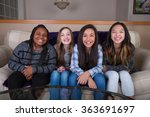 four young girlfriends sitting... | Shutterstock . vector #363691697