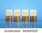 word expenses on stacked coins  ... | Shutterstock . vector #363694529