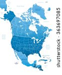 north america blue map vector... | Shutterstock .eps vector #363697085