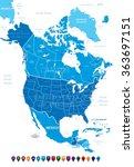 north america map | Shutterstock .eps vector #363697151