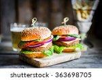 homemade burgers on rustic... | Shutterstock . vector #363698705