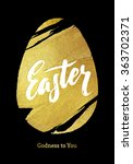gold foil happy easter greeting ... | Shutterstock .eps vector #363702371