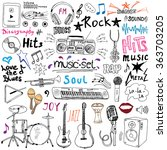 music items doodle icons set.... | Shutterstock . vector #363703205