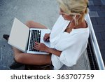 young woman work on laptop... | Shutterstock . vector #363707759
